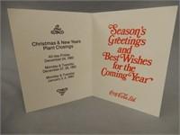 """COCA-COLA  """"SEASON'S GREETING"""" CHRISTMAS CARD"""