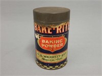 RARE BAKE-RITE BAKING POWDER PAPER LABEL TIN