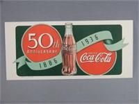 """RARE 1936 COCA-COLA  """"50TH ANNIVERSARY"""" BLOTTER"""
