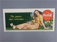 """1941 COCA-COLA """"THE PAUSE THAT REFRESHES"""" BLOTTER"""