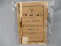 RARE 1892 OTTERVILLE FALL EXHIBITION PRIZE LIST