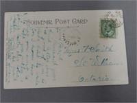 C.N.R. STATION & DOCKS COLORED SOUVENIR POST CARD