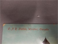 1913 C.P.R.STATION WINDSOR, ONT. COLORED POST CARD