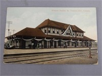 1911 WABASH STATION, ST. THOMAS, ONT. POST CARD