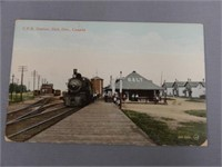 C.P.R. STATION, GALT, ONT., COLORED POST CARD