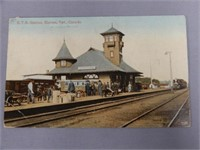 1914 SIMCOE, ONT. G.T.R STATION COLORED POST CARD