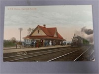 1911 INGERSOLL, ONT. G.T.R. COLORED POST CARD
