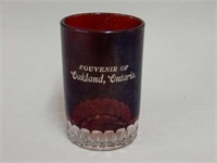 SOUVENIR OF OAKLAND, ONT. RUBY FLASH GLASS