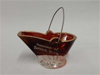 SOUVENIR TAVISTOCK ONTARIO RUBY GLASS COAL SCUTTLE