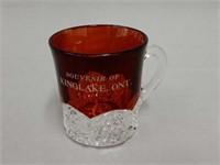SOUVENIR KINGLAKE, ONT.RUBY FLASH GLASS CUP