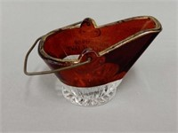SOUVENIR NORWICH, ONT. RUBY GLASS COAL SCUTTLE