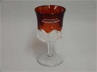 SOUVENIR BURGESSVILLE ONT. RUBY FLASH GLASS GOBLET