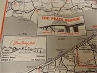 1957 EASTERN MOTOR COURT MAP -  2 ONTARIO & USA