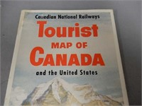 1950'S CANADIAN NATIONAL RAILWAYS TOURIST MAP