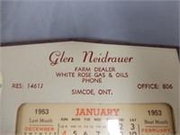 1953 GLEN NEIDRAUER WHITE ROSE DEALER CALENDAR