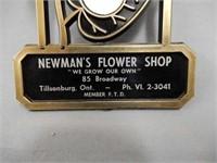 NEWMAN'S FLOWER SHOP TILLSONBURG ADV. THERMOMETER