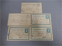 GROUPING OF 5 1877- 1884 CANADA  POST CARDS