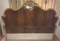 French burl walnut full bed w mattress & bedding