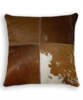 BROWN & WHITE COWHIDE LEATHER PILLOW