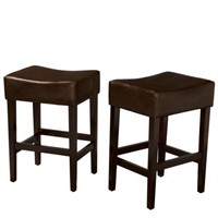 "28"" DARK BROWN CUSHIONED COUNTER STOOL"
