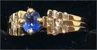 H120 14KT YELLOW GOLD BLUE SAPPHIRE AND DIAMOND