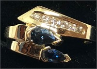 H108 14KT YELLOW GOLD BLUE SAPPHIRE AND DIAMOND