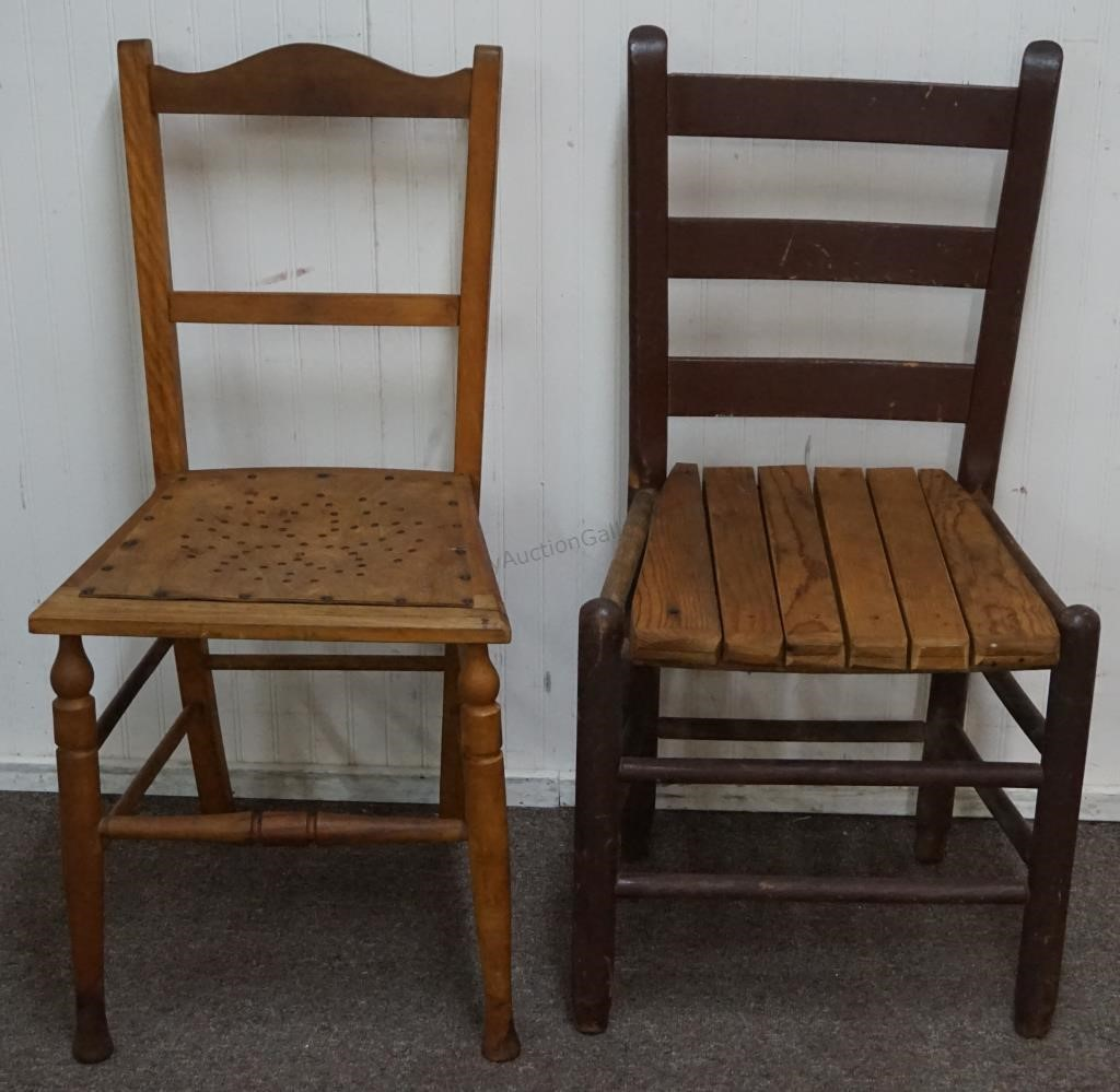 2 Vintage Old Wooden Farmhouse Chairs Trinity Auction Gallery