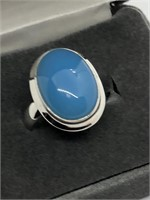 Sterling Silver Blue Chalcedony  Ring, size  8