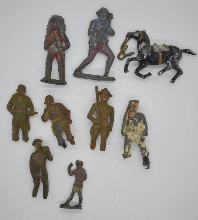 9 Pcs Antique Metal Toy Solrs Jd