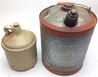 Vintage Gasoline Can & Antique Jug