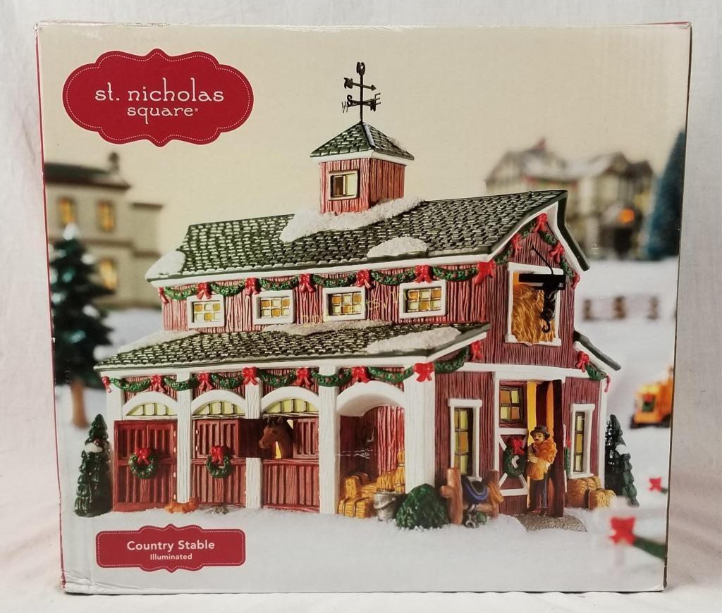 St Nicholas Christmas Village.St Nicholas Square Stable Christmas Village 2nd Cents Inc