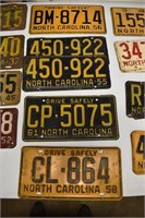Collection NC License Plates 50's. 60's. 70's