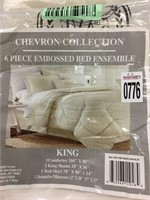 6 PIECE EMBOSSED BED ENSEMBLE KING