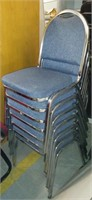 Blue Fabric/Metal Stack Chairs (set of 7), $35.00 Reserve