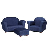 KEET ROUNDY DENIM CHILDRENS CHAIR SOFA & OTTOMAN
