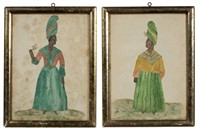 Pair of 19th-century Southern folk art watercolor and pinprick portraits of African-American women, New Orleans history