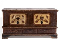 """Important Wythe Co., VA paint-decorated poplar blanket chest, one urn inscribed """"1812 / 10 March / Johannes / Hudel"""", published in Moore, J. Roderick - """"Painted Chests from Wythe County, Virginia"""", The Magazine Antiques, September 1982, Plate V, p. 519"""