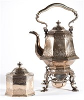 American coin silver, including a kettle on stand and tea box