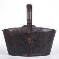 Richmond, VA area decorated leather key basket (c.1850)