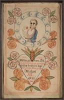 One of a pair of Pennsylvania fraktur blessings, watercolor and ink on paper, for Johannes and Michael Sil, each dated 1786, MESDA deaccession, gift of Pastor Frederick S. Wiser