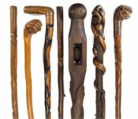 """Good selection of carved folk art canes, including examples by Col. Gabriel Thomas Barbee, CSA (1814-1908) and the """"Tobacco Leaf Carver"""" (Richmond, VA)"""
