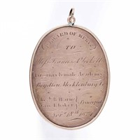 """Rare Southern schoolgirl rose gold Reward of Merit from the """"Virginia Female Academy / Boydton, Mecklenburg Co."""", dated 1827 and presented to """"Miss Francis A. Lockett"""""""