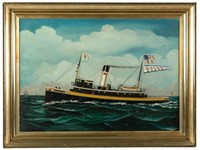 """Otto Muhlenfeld (Baltimore, MD 1871-1907) painting of the tug """"Neptune"""""""