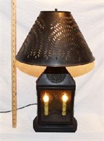 NICE PUNCHED TIN TABLE LAMP