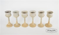 6 pottery goblets, signed Ehrlich Katz