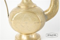 Antique Indian brass ewer, intricately carved