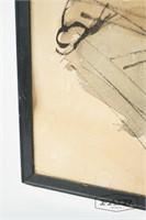 Watercolor/ink portrait of boy on paper
