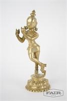Antique solid brass statue of Hindu god Krishna
