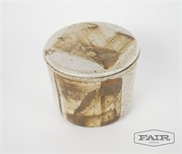 Japanese pottery canister with lid