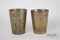 2 decorated metal cups from Pakistan or India